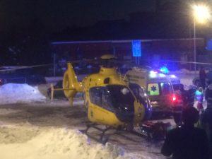 Zásah vrtulníku u požáru Hořice 18.1.2017 - Foto www.horicak.cz