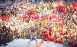 prezident SKIF před účastníky MS karate SKIF 2019 cvičí na nástupu mistrovskou kata Gankaku Sho. Autor Fotografie Lubomír Douděra
